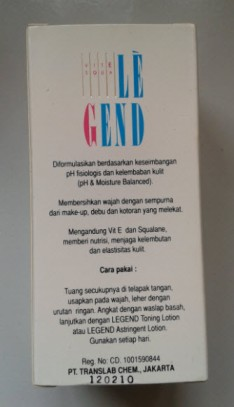 legend cleansing lotion back