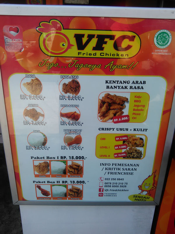 MENU VFC FRIED CHICKEN
